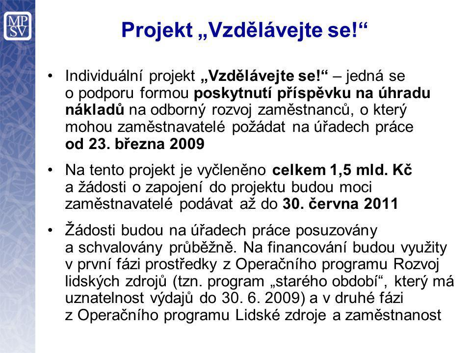 """Projekt """"Vzdělávejte se! Individuální projekt """"Vzdělávejte se! – jedná se o podporu formou poskytnutí příspěvku na úhradu nákladů na odborný rozvoj zaměstnanců, o který mohou zaměstnavatelé požádat na úřadech práce od 23."""