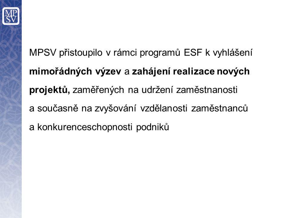 MPSV přistoupilo v rámci programů ESF k vyhlášení mimořádných výzev a zahájení realizace nových projektů, zaměřených na udržení zaměstnanosti a současně na zvyšování vzdělanosti zaměstnanců a konkurenceschopnosti podniků