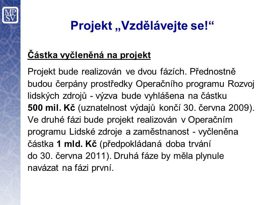 """Projekt """"Vzdělávejte se!"""" Částka vyčleněná na projekt Projekt bude realizován ve dvou fázích. Přednostně budou čerpány prostředky Operačního programu"""