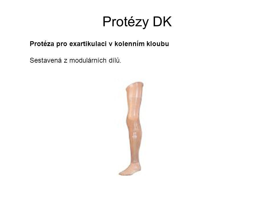 Protézy DK Protéza pro exartikulaci v kolenním kloubu Sestavená z modulárních dílů.