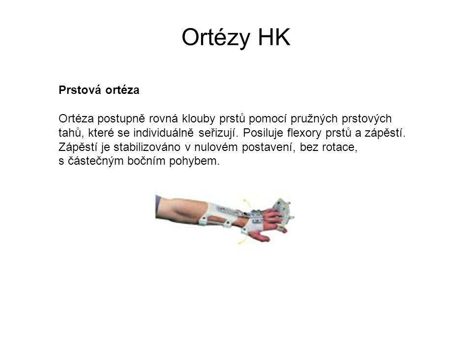 Ortézy HK Prstová ortéza Ortéza postupně rovná klouby prstů pomocí pružných prstových tahů, které se individuálně seřizují.
