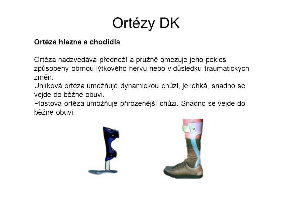Ortézy DK Ortéza hlezna a chodidla Ortéza nadzvedává přednoží a pružně omezuje jeho pokles způsobený obrnou lýtkového nervu nebo v důsledku traumatických změn.