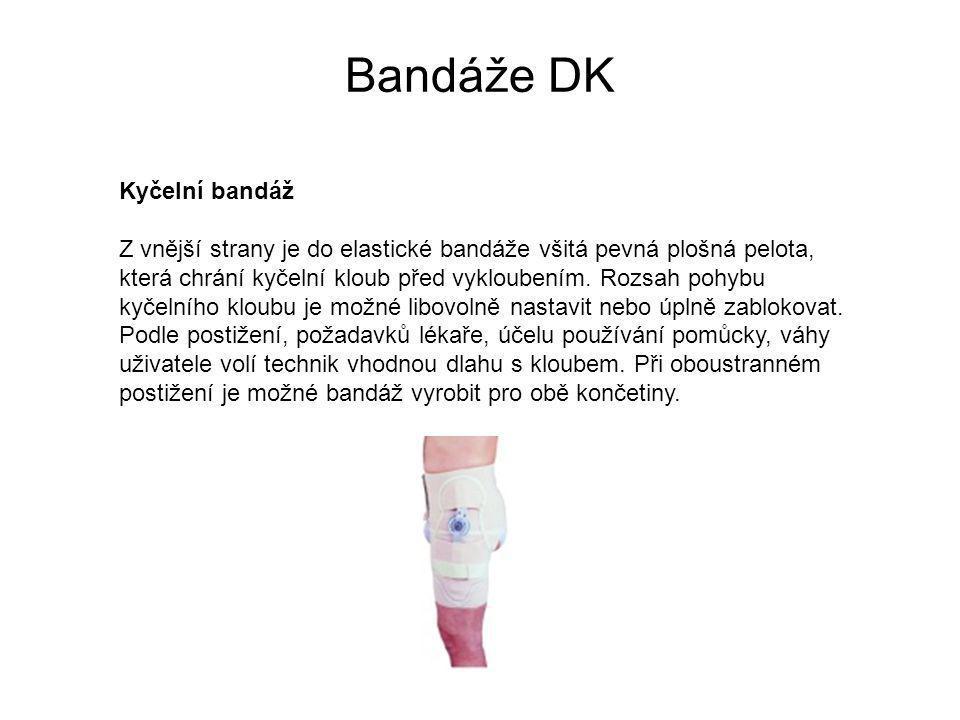 Bandáže DK Kyčelní bandáž Z vnější strany je do elastické bandáže všitá pevná plošná pelota, která chrání kyčelní kloub před vykloubením.