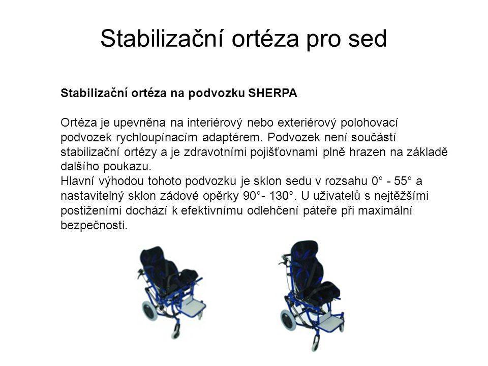 Stabilizační ortéza pro sed Stabilizační ortéza na podvozku SHERPA Ortéza je upevněna na interiérový nebo exteriérový polohovací podvozek rychloupínacím adaptérem.