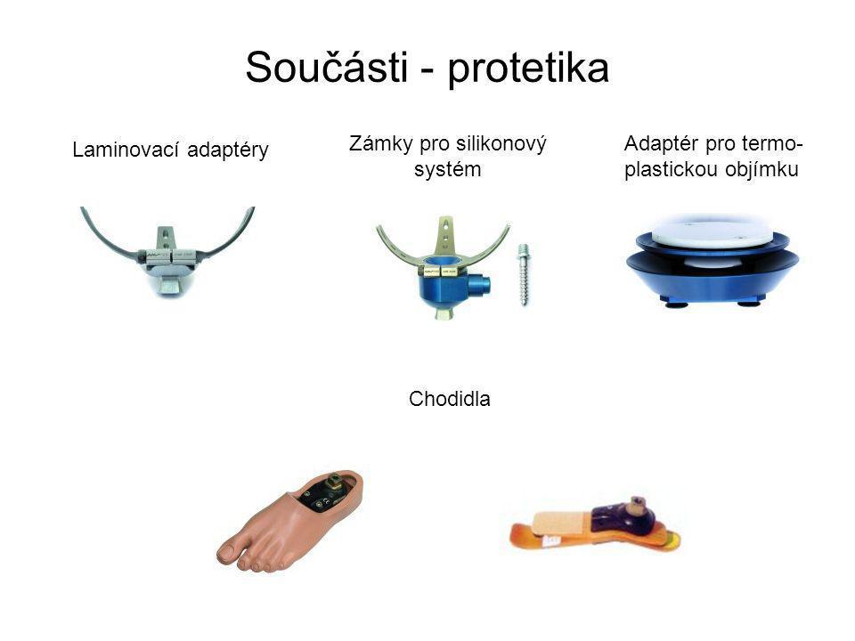 Součásti - protetika Laminovací adaptéry Zámky pro silikonový systém Adaptér pro termo- plastickou objímku Chodidla
