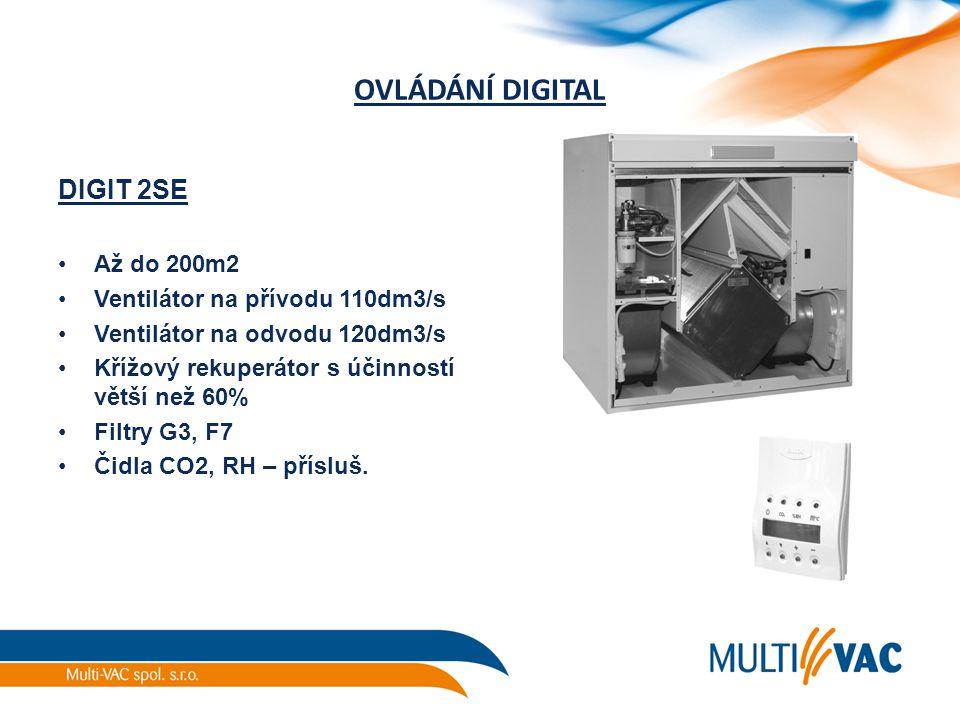 OVLÁDÁNÍ DIGITAL DIGIT 2SE Až do 200m2 Ventilátor na přívodu 110dm3/s Ventilátor na odvodu 120dm3/s Křížový rekuperátor s účinností větší než 60% Filt