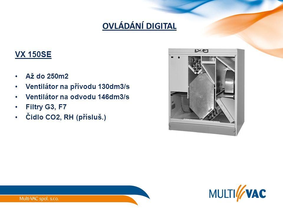 OVLÁDÁNÍ DIGITAL VX 150SE Až do 250m2 Ventilátor na přívodu 130dm3/s Ventilátor na odvodu 146dm3/s Filtry G3, F7 Čidlo CO2, RH (přísluš.)