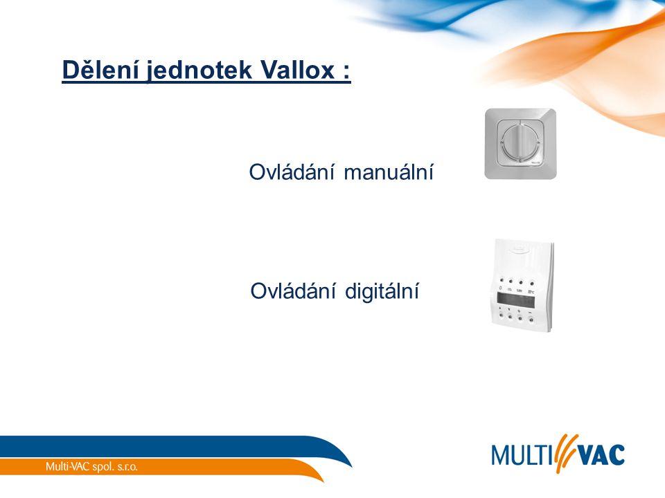 Dělení jednotek Vallox : Ovládání manuální Ovládání digitální