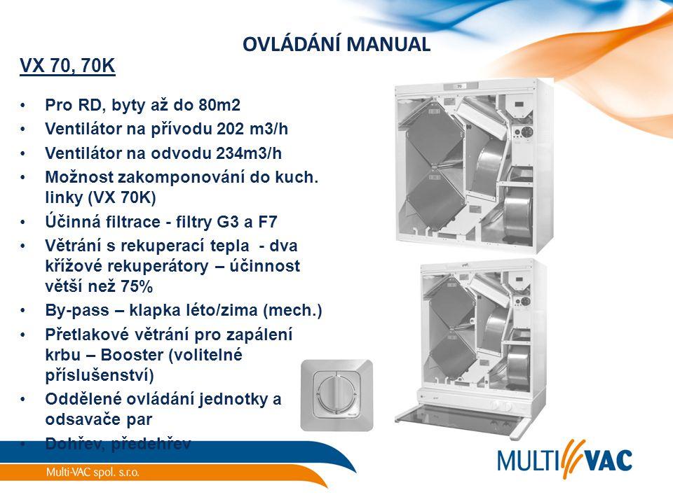 OVLÁDÁNÍ MANUAL VX 70, 70K Pro RD, byty až do 80m2 Ventilátor na přívodu 202 m3/h Ventilátor na odvodu 234m3/h Možnost zakomponování do kuch. linky (V