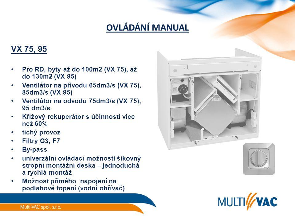 OVLÁDÁNÍ MANUAL VX 75, 95 Pro RD, byty až do 100m2 (VX 75), až do 130m2 (VX 95) Ventilátor na přívodu 65dm3/s (VX 75), 85dm3/s (VX 95) Ventilátor na o