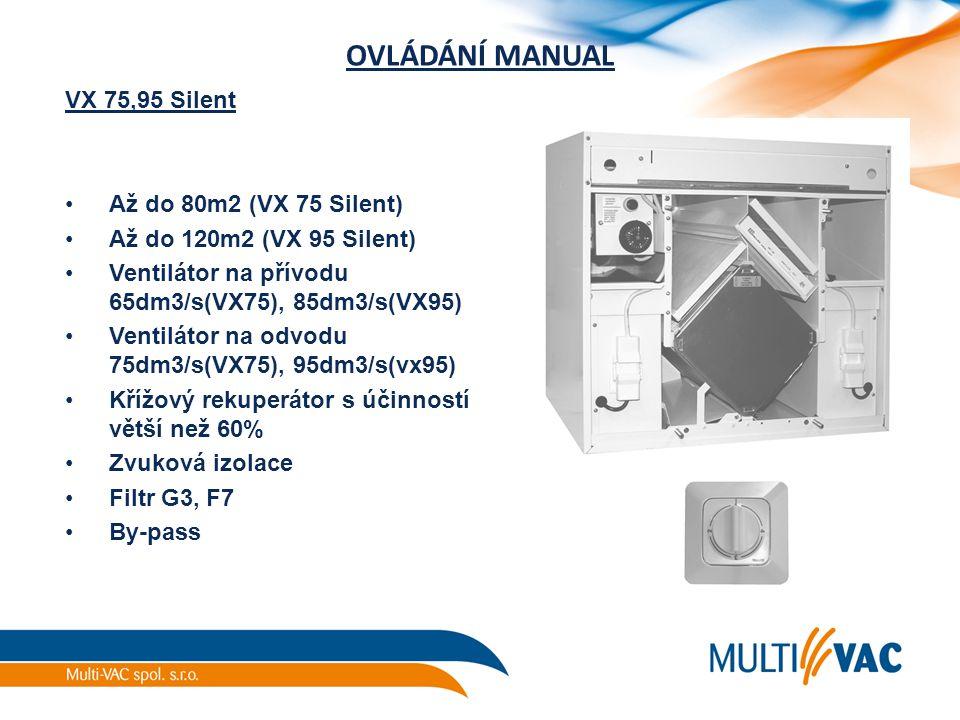 OVLÁDÁNÍ MANUAL VX 75,95 Silent Až do 80m2 (VX 75 Silent) Až do 120m2 (VX 95 Silent) Ventilátor na přívodu 65dm3/s(VX75), 85dm3/s(VX95) Ventilátor na