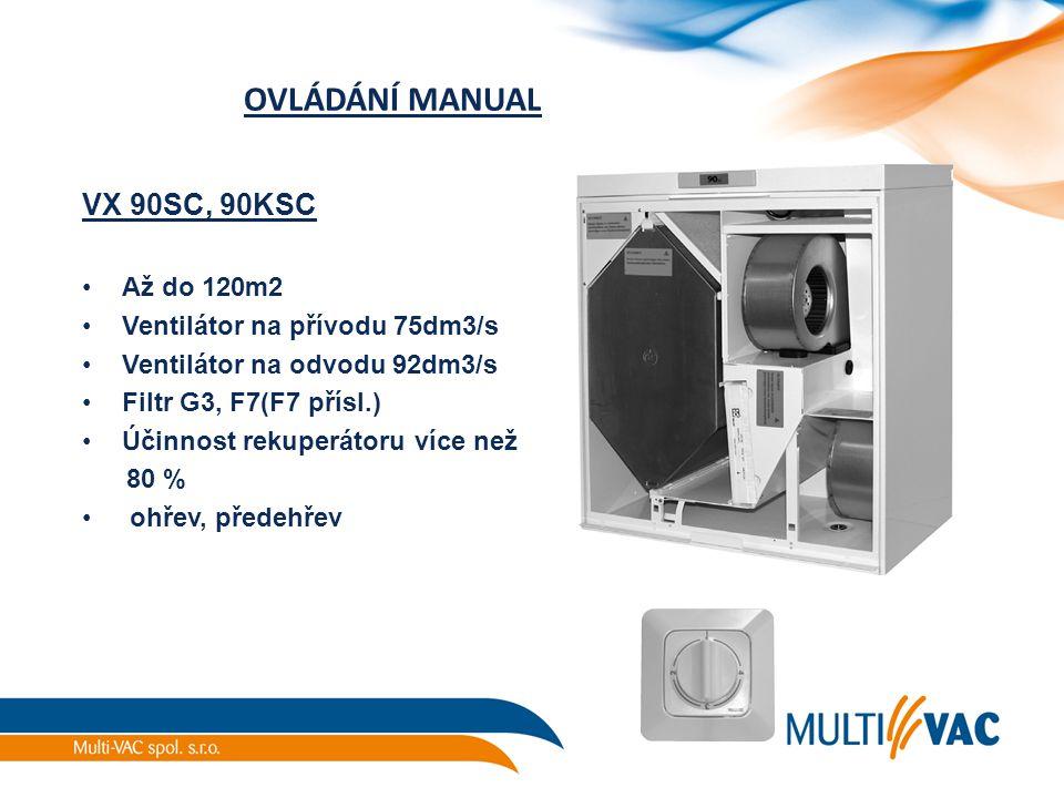 OVLÁDÁNÍ MANUAL VX 90SC, 90KSC Až do 120m2 Ventilátor na přívodu 75dm3/s Ventilátor na odvodu 92dm3/s Filtr G3, F7(F7 přísl.) Účinnost rekuperátoru ví