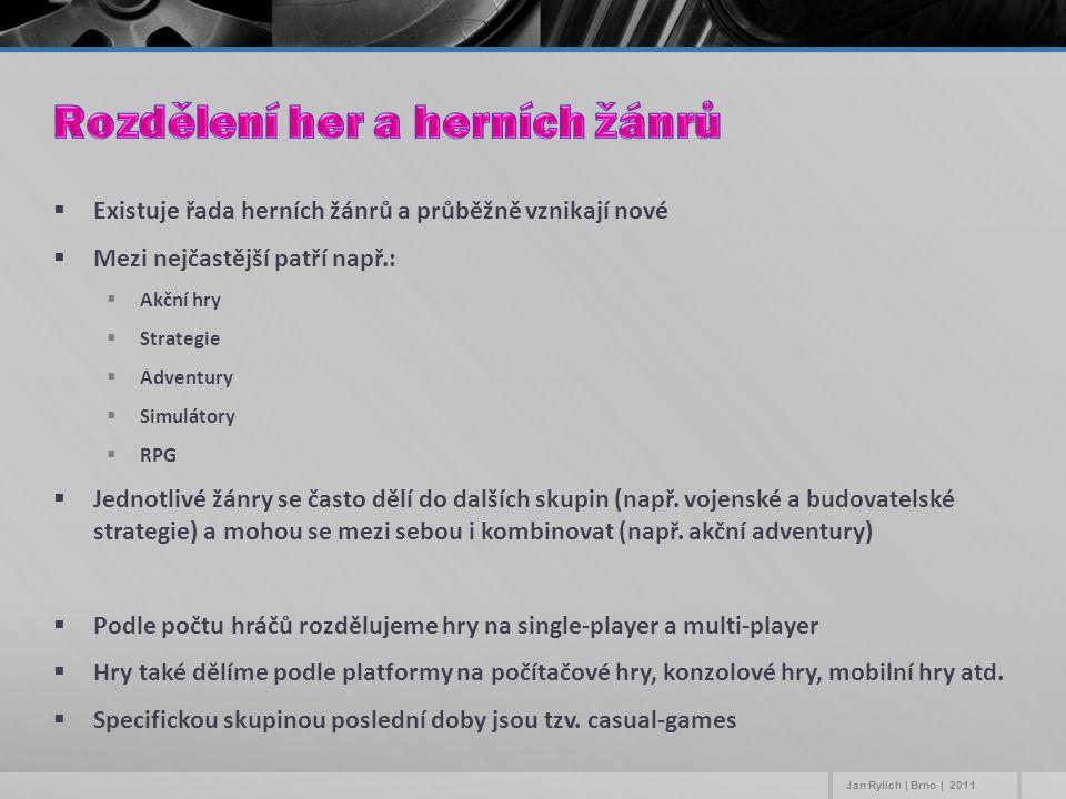  Existuje řada herních žánrů a průběžně vznikají nové  Mezi nejčastější patří např.:  Akční hry  Strategie  Adventury  Simulátory  RPG  Jednot