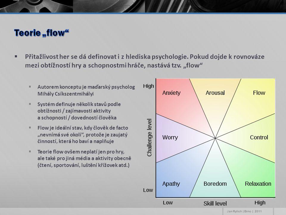 """ Přitažlivost her se dá definovat i z hlediska psychologie. Pokud dojde k rovnováze mezi obtížností hry a schopnostmi hráče, nastává tzv. """"flow""""  Au"""