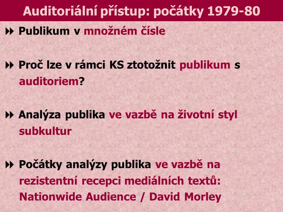 Auditoriální přístup: počátky 1979-80  Publikum v množném čísle  Proč lze v rámci KS ztotožnit publikum s auditoriem.