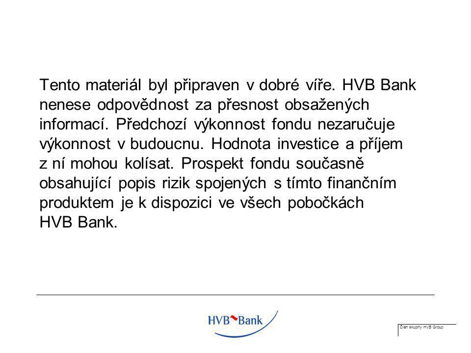 Člen skupiny HVB Group Tento materiál byl připraven v dobré víře. HVB Bank nenese odpovědnost za přesnost obsažených informací. Předchozí výkonnost fo