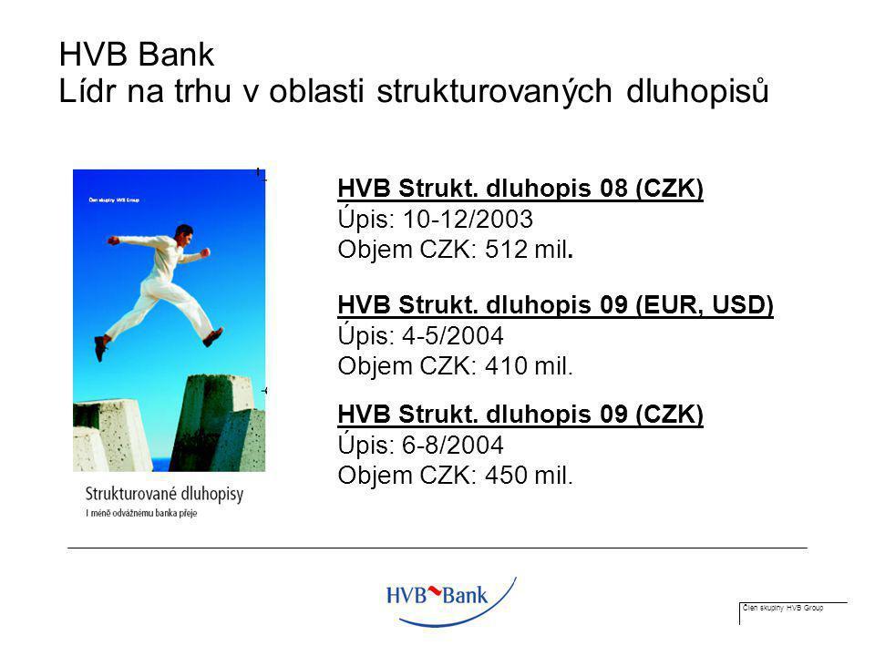 Člen skupiny HVB Group HVB Bank Lídr na trhu v oblasti strukturovaných dluhopisů HVB Strukt. dluhopis 08 (CZK) Úpis: 10-12/2003 Objem CZK: 512 mil. HV
