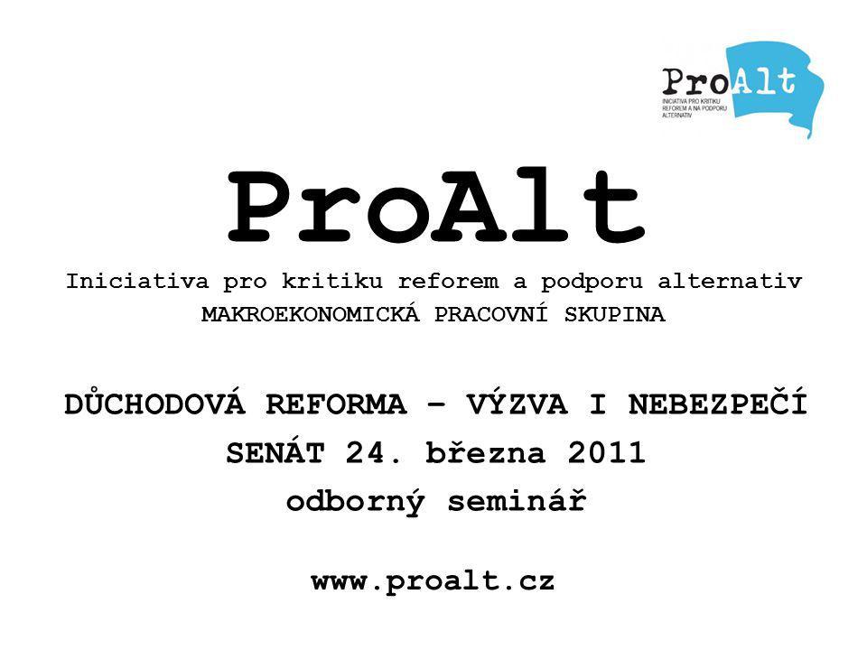 www.proalt.cz ProAlt Iniciativa pro kritiku reforem a podporu alternativ MAKROEKONOMICKÁ PRACOVNÍ SKUPINA DŮCHODOVÁ REFORMA – VÝZVA I NEBEZPEČÍ SENÁT