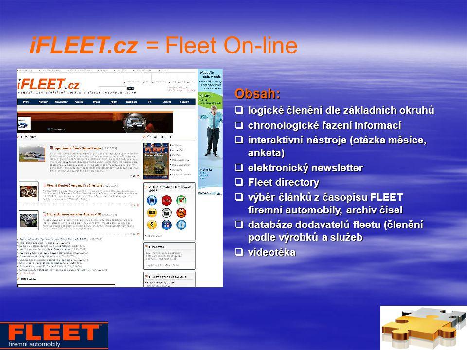 iFLEET.cz = Fleet On-line Obsah:  logické členění dle základních okruhů  chronologické řazení informací  interaktivní nástroje (otázka měsíce, anketa)  elektronický newsletter  Fleet directory  výběr článků z časopisu FLEET firemní automobily, archiv čísel  databáze dodavatelů fleetu (členění podle výrobků a služeb  videotéka