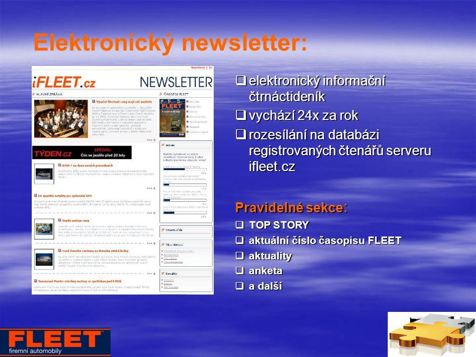 Elektronický newsletter:  elektronický informační čtrnáctideník  vychází 24x za rok  rozesílání na databázi registrovaných čtenářů serveru ifleet.cz Pravidelné sekce :  TOP STORY  aktuální číslo časopisu FLEET  aktuality  anketa  a další