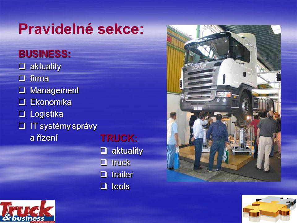 Pravidelné sekce: BUSINESS:  aktuality  firma  Management  Ekonomika  Logistika  IT systémy správy a řízení TRUCK:  aktuality  truck  trailer  tools