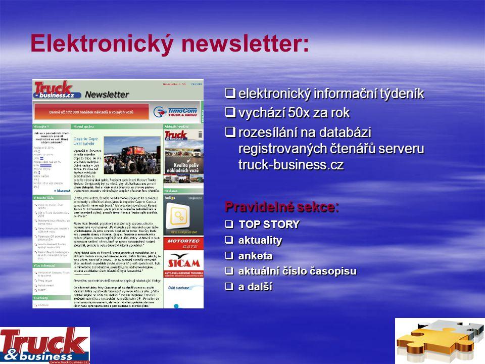 Elektronický newsletter:  elektronický informační týdeník  vychází 50x za rok  rozesílání na databázi registrovaných čtenářů serveru truck-business.cz Pravidelné sekce :  TOP STORY  aktuality  anketa  aktuální číslo časopisu  a další