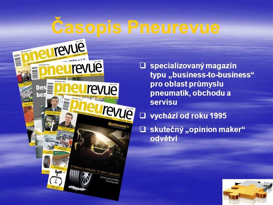 """Časopis Pneurevue  specializovaný magazín typu """"business-to-business pro oblast průmyslu pneumatik, obchodu a servisu  vychází od roku 1995  skutečný """"opinion maker odvětví"""