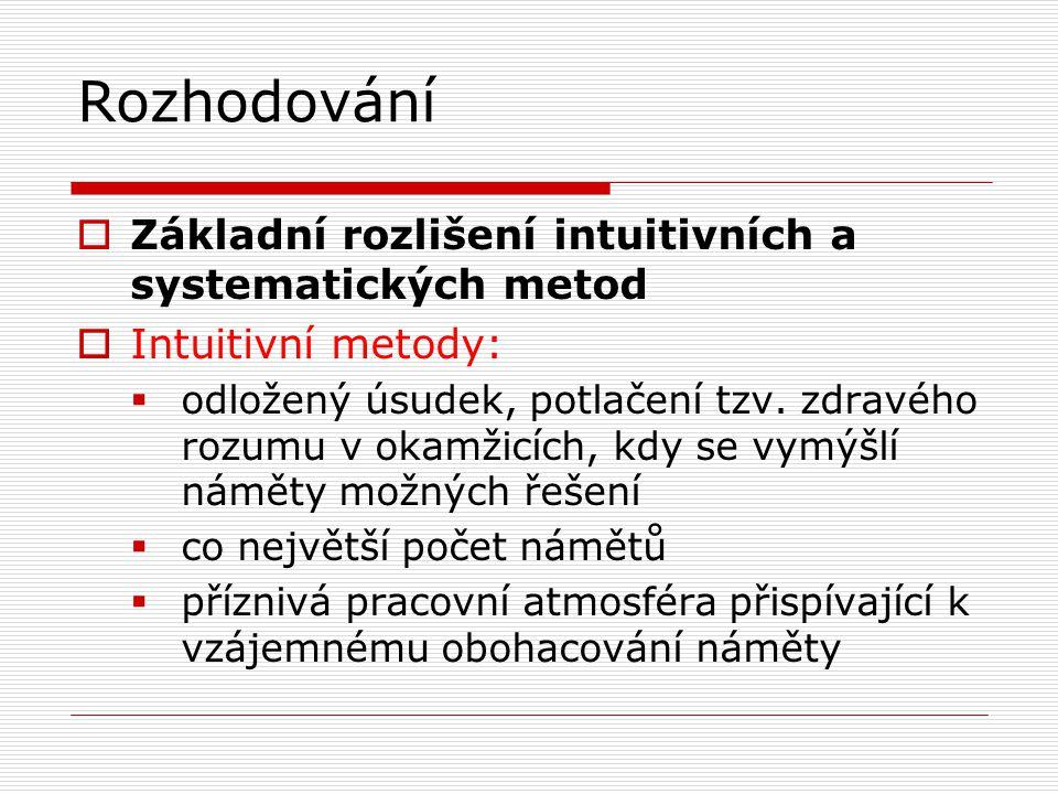 Rozhodování  Základní rozlišení intuitivních a systematických metod  Intuitivní metody:  odložený úsudek, potlačení tzv. zdravého rozumu v okamžicí