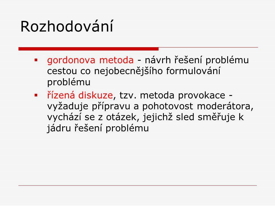 Rozhodování  gordonova metoda - návrh řešení problému cestou co nejobecnějšího formulování problému  řízená diskuze, tzv. metoda provokace - vyžaduj