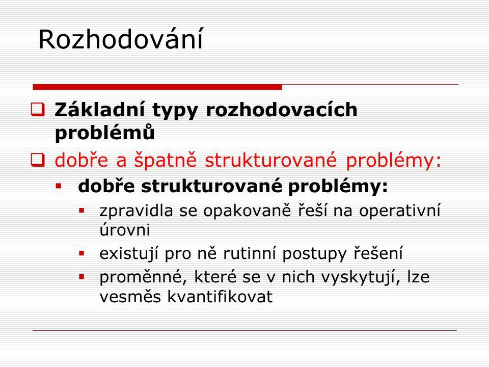 Rozhodování  Základní typy rozhodovacích problémů  dobře a špatně strukturované problémy:  dobře strukturované problémy:  zpravidla se opakovaně ř