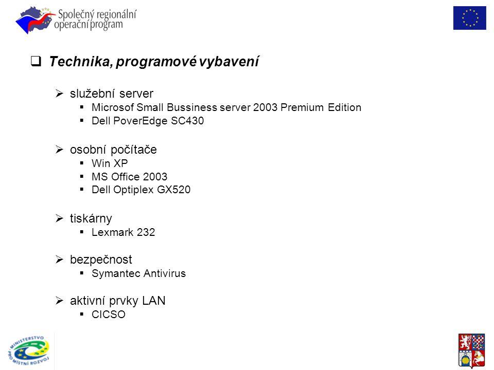  Technika, programové vybavení  služební server  Microsof Small Bussiness server 2003 Premium Edition  Dell PoverEdge SC430  osobní počítače  Wi