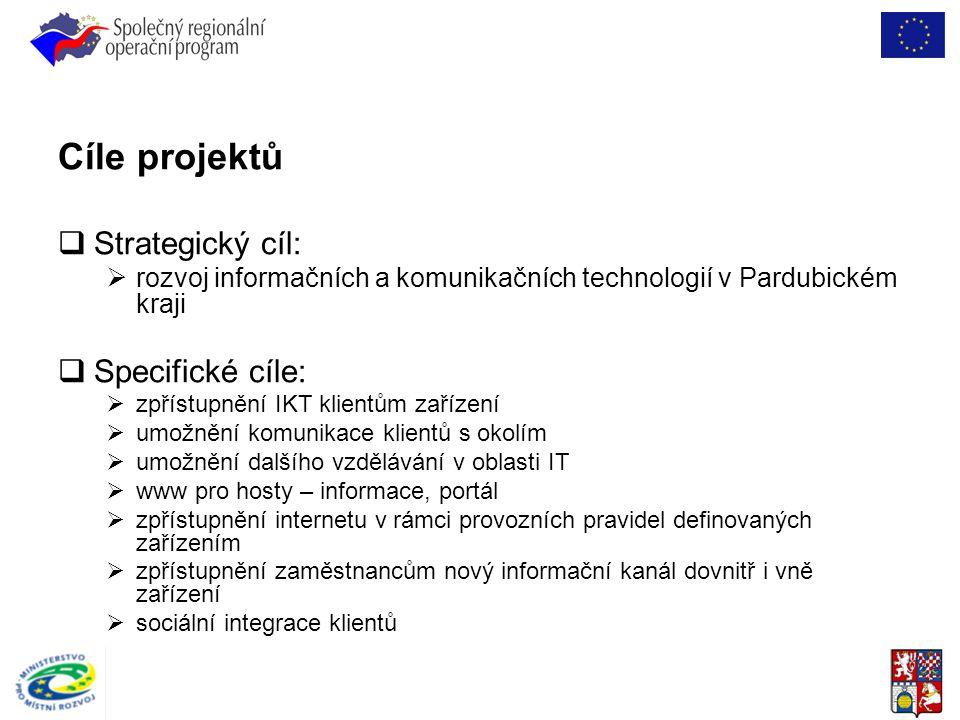 Cíle projektů  Strategický cíl:  rozvoj informačních a komunikačních technologií v Pardubickém kraji  Specifické cíle:  zpřístupnění IKT klientům