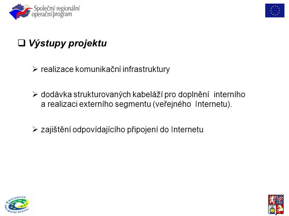  Výstupy projektu  realizace komunikační infrastruktury  dodávka strukturovaných kabeláží pro doplnění interního a realizaci externího segmentu (ve