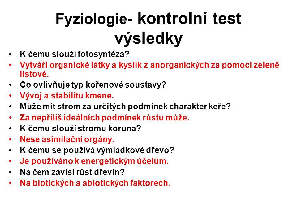 Fyziologie- kontrolní test výsledky K čemu slouží fotosyntéza? Vytváří organické látky a kyslík z anorganických za pomoci zeleně listové. Co ovlivňuje