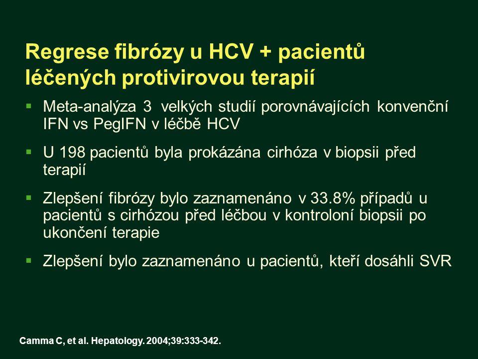 Regrese fibrózy u HCV + pacientů léčených protivirovou terapií  Meta-analýza 3 velkých studií porovnávajících konvenční IFN vs PegIFN v léčbě HCV  U