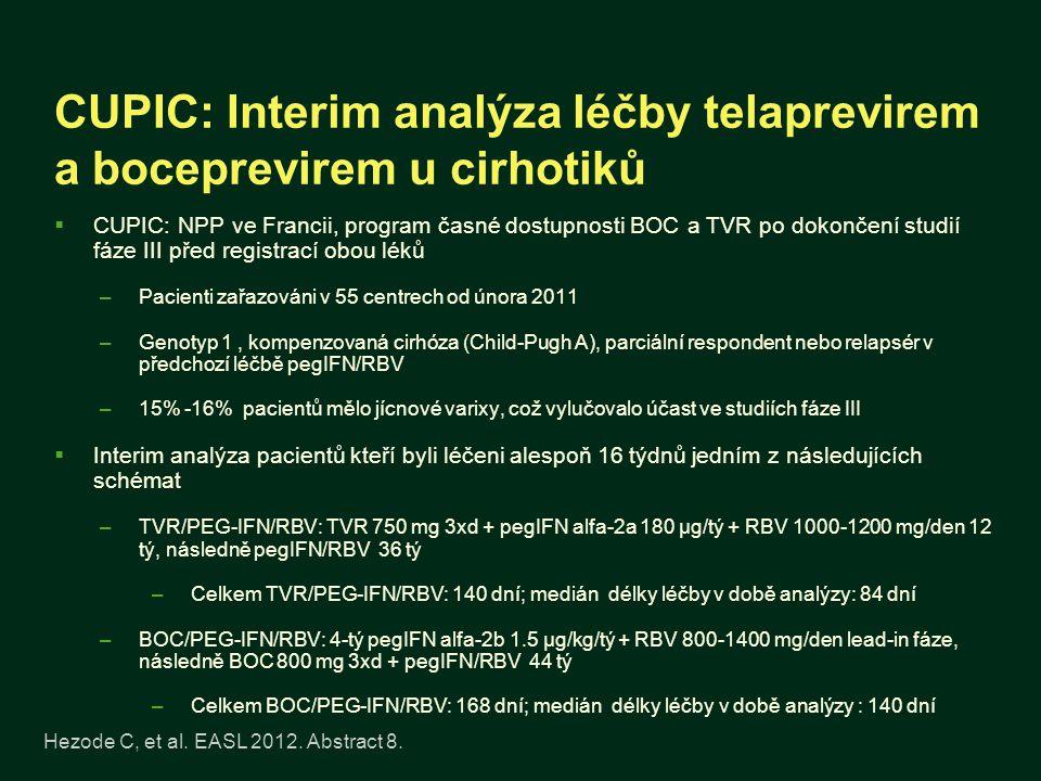 CUPIC: Interim analýza léčby telaprevirem a boceprevirem u cirhotiků  CUPIC: NPP ve Francii, program časné dostupnosti BOC a TVR po dokončení studií