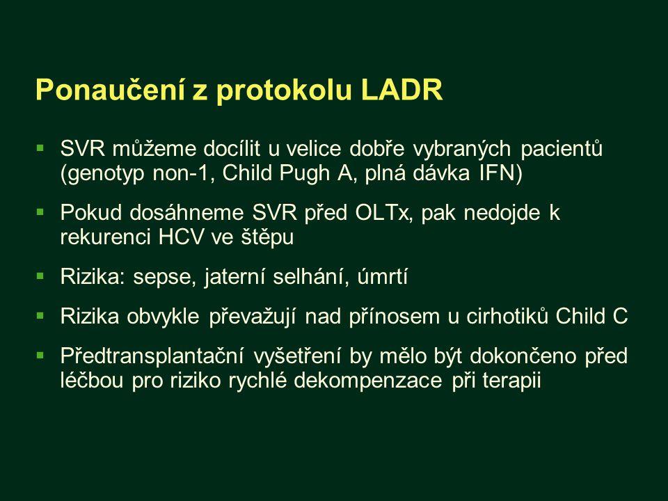 Ponaučení z protokolu LADR  SVR můžeme docílit u velice dobře vybraných pacientů (genotyp non-1, Child Pugh A, plná dávka IFN)  Pokud dosáhneme SVR