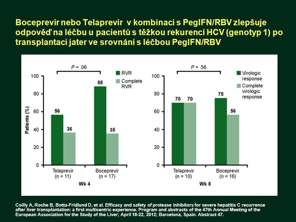 Boceprevir nebo Telaprevir v kombinaci s PegIFN/RBV zlepšuje odpověď na léčbu u pacientů s těžkou rekurencí HCV (genotyp 1) po transplantaci jater ve
