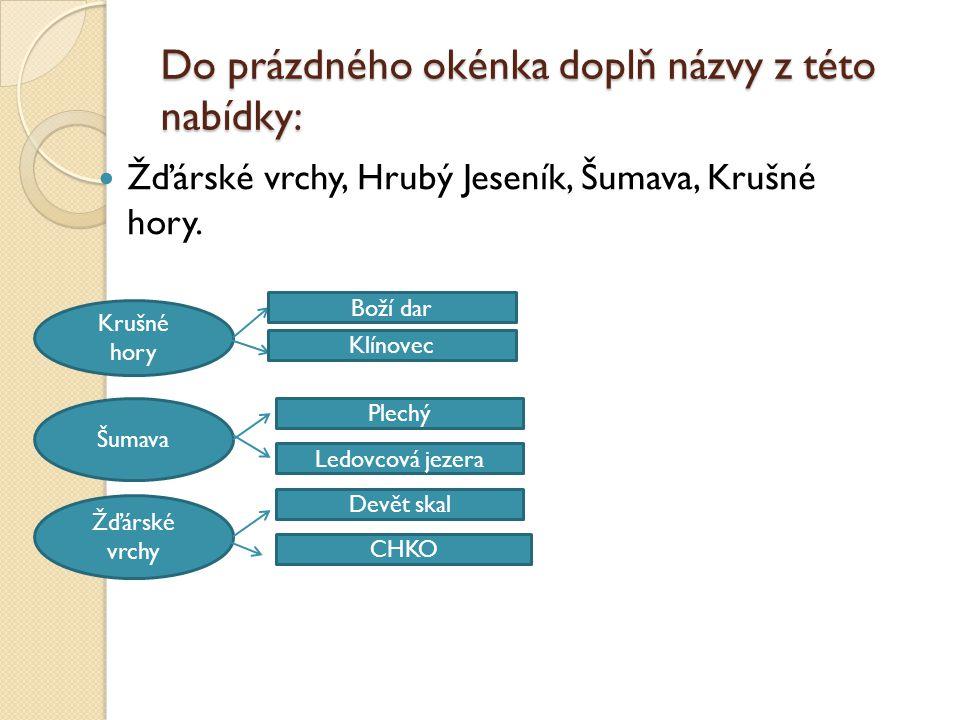 Do prázdného okénka doplň názvy z této nabídky: Žďárské vrchy, Hrubý Jeseník, Šumava, Krušné hory.