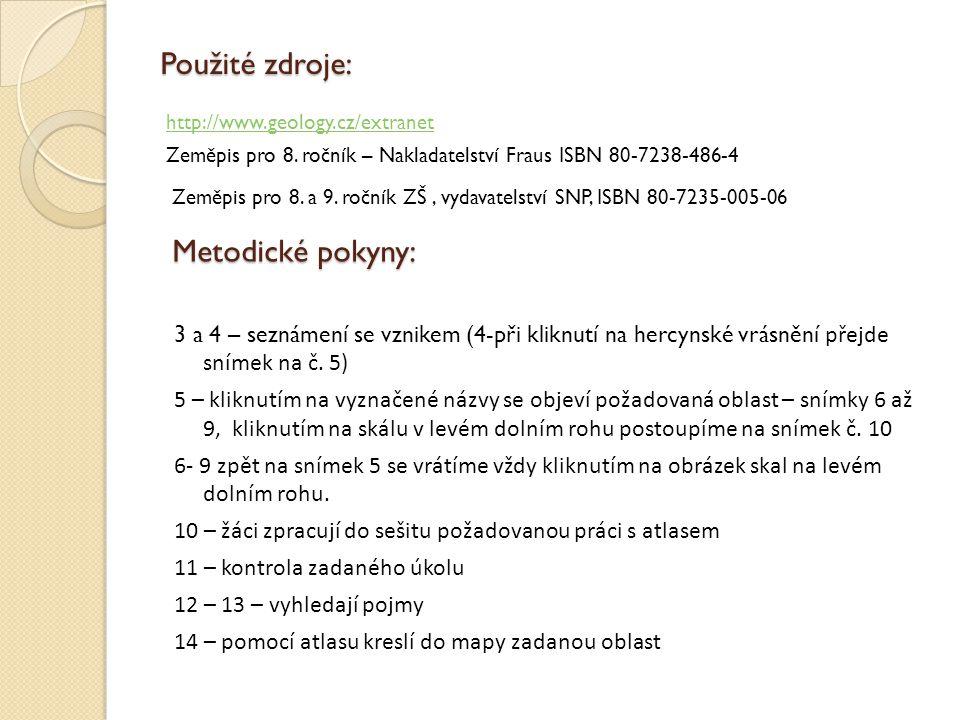 Použité zdroje: http://www.geology.cz/extranet Zeměpis pro 8.