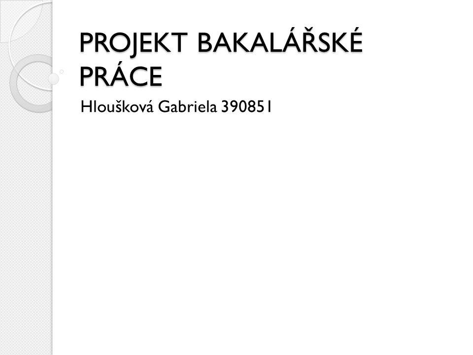 PROJEKT BAKALÁŘSKÉ PRÁCE Hloušková Gabriela 390851