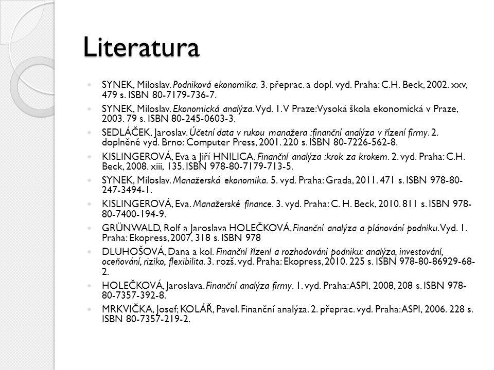 Literatura SYNEK, Miloslav. Podniková ekonomika. 3. přeprac. a dopl. vyd. Praha: C.H. Beck, 2002. xxv, 479 s. ISBN 80-7179-736-7. SYNEK, Miloslav. Eko