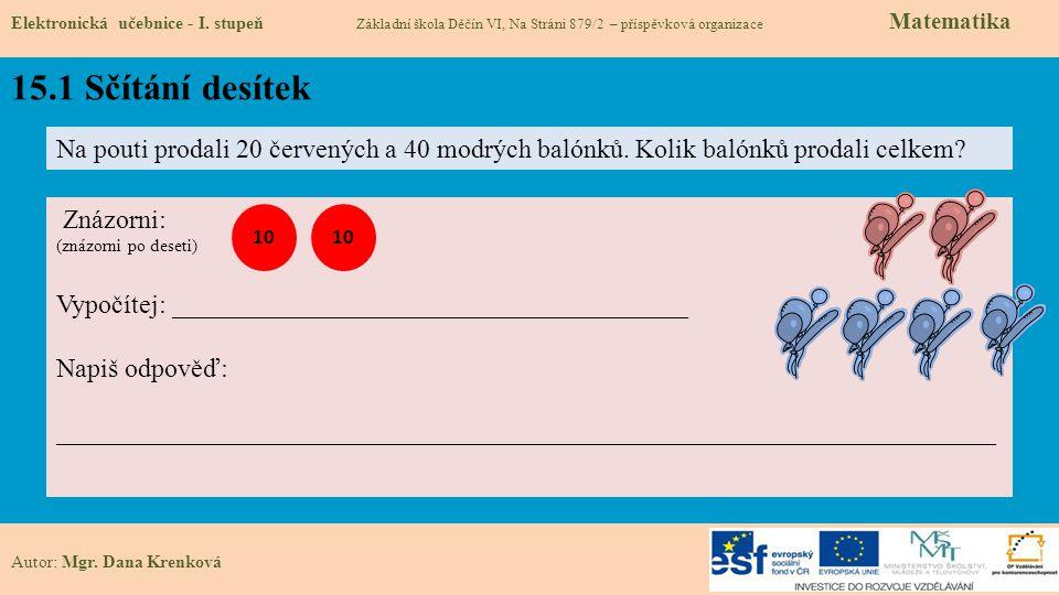 15.1 Sčítání desítek Elektronická učebnice - I.
