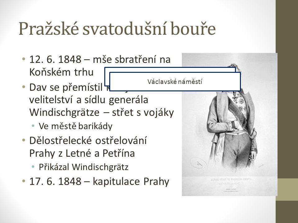 Pražské svatodušní bouře 12. 6. 1848 – mše sbratření na Koňském trhu Dav se přemístil k vojenskému velitelství a sídlu generála Windischgrätze – střet