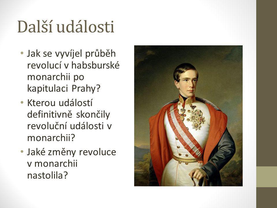 Další události Jak se vyvíjel průběh revolucí v habsburské monarchii po kapitulaci Prahy? Kterou událostí definitivně skončily revoluční události v mo