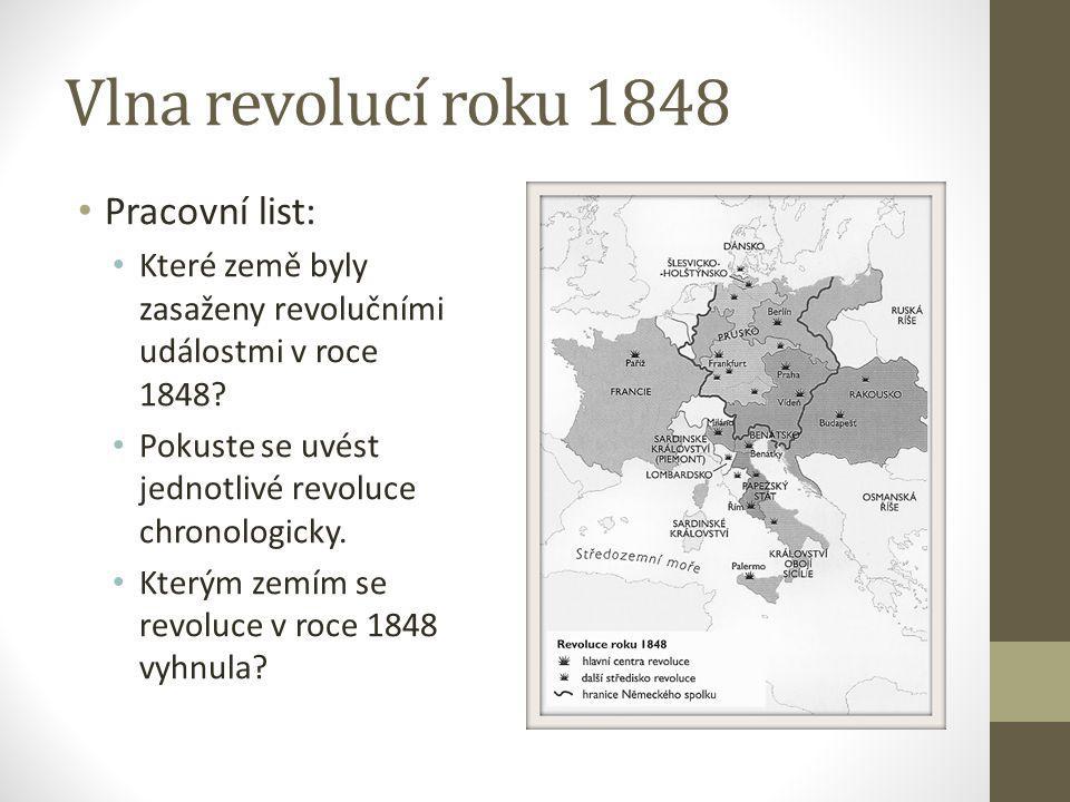 Vlna revolucí roku 1848 Pracovní list: Které země byly zasaženy revolučními událostmi v roce 1848? Pokuste se uvést jednotlivé revoluce chronologicky.