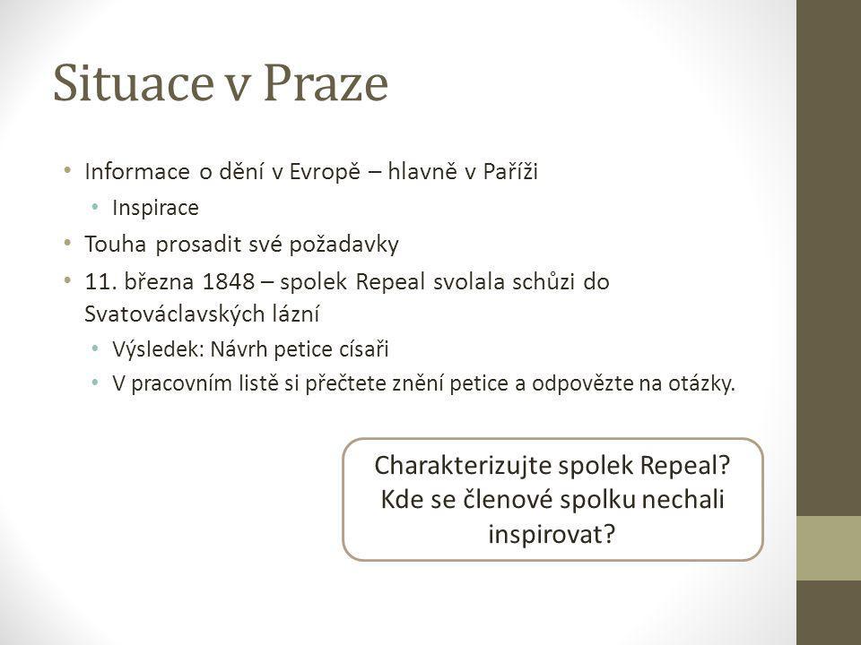 Situace v Praze Informace o dění v Evropě – hlavně v Paříži Inspirace Touha prosadit své požadavky 11.