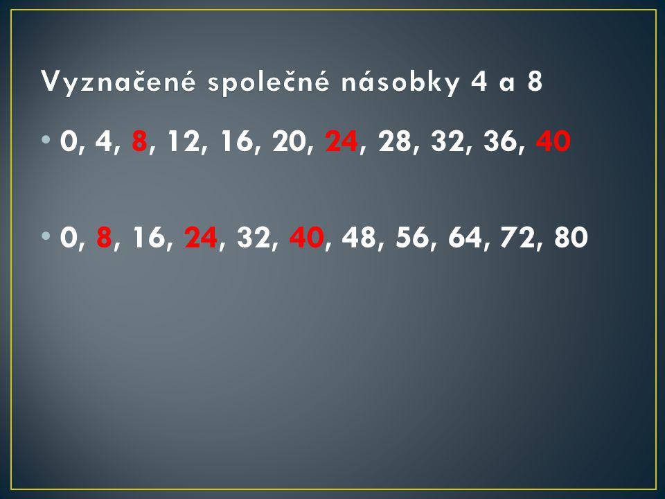 0, 4, 8, 12, 16, 20, 24, 28, 32, 36, 40 0, 8, 16, 24, 32, 40, 48, 56, 64, 72, 80
