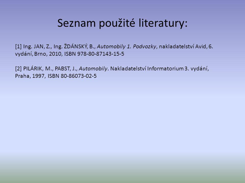 Seznam použité literatury: [1] Ing. JAN, Z., Ing. ŽDÁNSKÝ, B., Automobily 1. Podvozky, nakladatelství Avid, 6. vydání, Brno, 2010, ISBN 978-80-87143-1