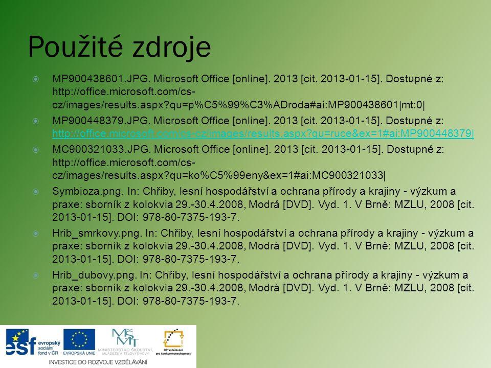 Použité zdroje  MP900438601.JPG. Microsoft Office [online]. 2013 [cit. 2013-01-15]. Dostupné z: http://office.microsoft.com/cs- cz/images/results.asp